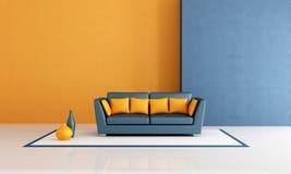 Sala de estar azul y anaranjada ilustración del vector