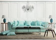 Sala de estar barroca elegante verde clara fotografía de archivo libre de regalías