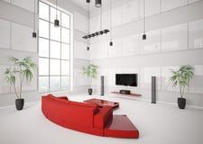 Sala de estar blanca con el sofá rojo 3d interior Foto de archivo libre de regalías