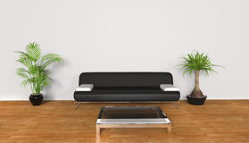 Sala de estar blanca - sofá negro Foto de archivo