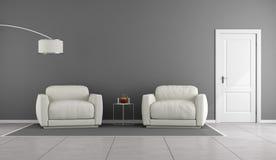 Sala de estar blanca y gris Foto de archivo