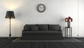 Sala de estar blanco y negro del vintage Fotografía de archivo