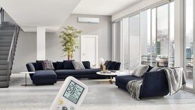 Sala de estar brillante moderna del apartamento de los interiores con la condición del aire foto de archivo
