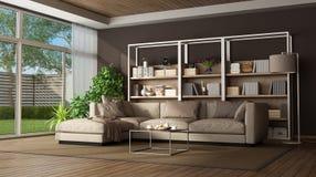 Sala de estar de Brown con el sofá y el bookase imagen de archivo libre de regalías