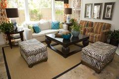 Sala de estar casera de lujo espaciosa. imagenes de archivo
