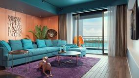Sala de estar cerca de la playa Fotografía de archivo libre de regalías