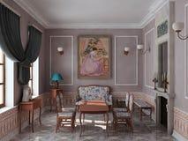 Sala de estar com chaminé. Foto de Stock Royalty Free