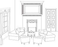 Sala de estar com chaminé Mobília editável do vetor Interior no estilo retro Fotografia de Stock