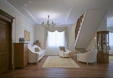 Sala de estar com o sofá e as poltronas de linho do algodão Foto de Stock