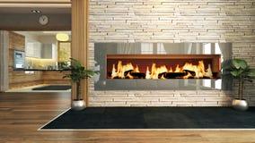 Sala de estar con diseño de la decoración de la chimenea Imagenes de archivo