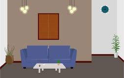 Sala de estar con el ejemplo azul del sofá de la sala de estar en forma plana Imágenes de archivo libres de regalías