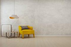 Sala de estar con el fondo vacío del muro de cemento en casa moderna Imagenes de archivo
