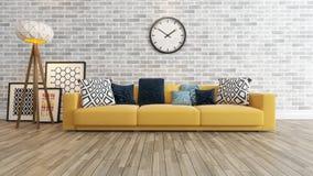 Sala de estar con el reloj grande en la representación blanca de la pared de ladrillo 3d Fotografía de archivo