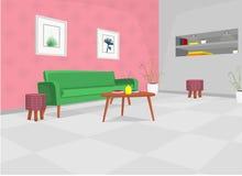 Sala de estar con el sofá verde, tabla, y construido en estantes/sala de estar acogedora del ejemplo de la historieta ilustración del vector