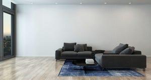 Sala de estar con Gray Sofa en el apartamento moderno imagen de archivo libre de regalías