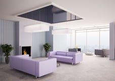 Sala de estar con la chimenea 3d libre illustration