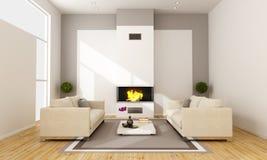 Sala de estar con la chimenea Imagen de archivo libre de regalías