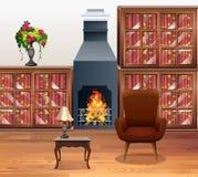 Sala de estar con la chimenea en el centro stock de ilustración