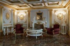 Sala de estar con la chimenea en la representación clásica del estilo 3d Fotografía de archivo libre de regalías