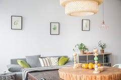Sala de estar con la lámpara del techo Fotografía de archivo libre de regalías