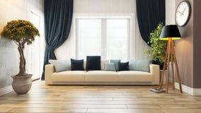 Sala de estar con la representación del asiento 3d Foto de archivo