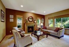 Sala de estar con las paredes y la chimenea del contraste Imagen de archivo