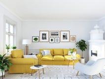 Sala de estar con los marcos y la chimenea representación 3d libre illustration