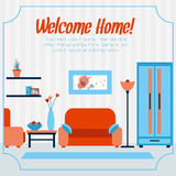 Sala de estar con muebles Imagen de archivo libre de regalías