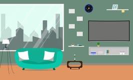 Sala de estar con Smart curvado TV Foto de archivo libre de regalías