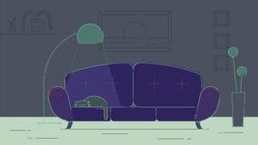 Sala de estar con un gato ilustración del vector