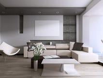Sala de estar contemporánea con la ventana grande que pasa por alto el patio trasero libre illustration
