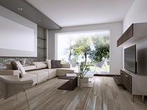 Sala de estar contemporánea con la ventana grande que pasa por alto el patio trasero stock de ilustración