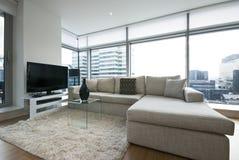 Sala de estar contemporánea con muebles del diseñador Fotos de archivo libres de regalías