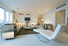 Sala de estar contemporánea con muebles del diseñador Fotografía de archivo libre de regalías