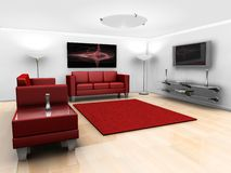 Sala de estar contemporânea Fotos de Stock Royalty Free