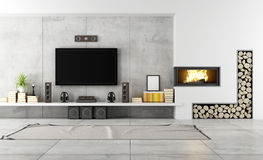 Sala de estar contemporânea com chaminé Fotografia de Stock Royalty Free