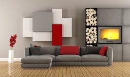 Sala de estar contemporânea com chaminé Foto de Stock