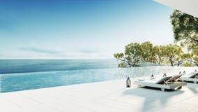 A sala de estar da praia/3D rende o interior Imagem de Stock Royalty Free