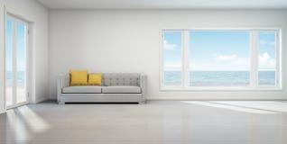 Sala de estar de la opinión del mar, casa de playa con el interior blanco del vintage Imagen de archivo