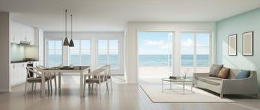 Sala de estar de la opinión del mar, comedor y cocina, casa de playa Fotos de archivo