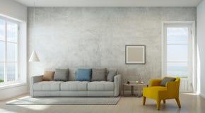 Sala de estar de la opinión del mar con el muro de cemento en la casa de playa moderna, interior de lujo de la casa de vacaciones Fotos de archivo