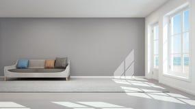 Sala de estar de la opinión del mar en la casa de playa moderna, casa de verano Imagen de archivo