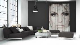 Sala de estar de un ático representación 3d