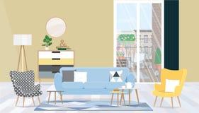 Sala de estar del diseño interior con muebles, una ventana grande y el acceso al balcón Ejemplo plano del vector fotografía de archivo libre de regalías