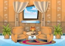 Sala de estar del interior del ejemplo del vector de la historieta Fotografía de archivo