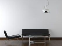 Sala de estar del negro del diseño interior Imagenes de archivo