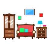 Sala de estar del vector con muebles del vintage stock de ilustración