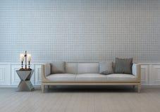 Sala de estar del viejo estilo con la pared de la materia textil Imagen de archivo libre de regalías