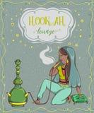 Sala de estar do cachimbo de água Cartão do vintage com fumo da mulher árabe ilustração do vetor