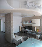 A sala de estar do minimalismo, 3D rende Fotos de Stock